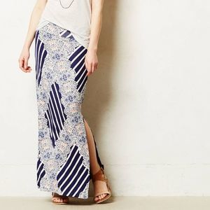 ANTHRO MAEVE Navy Stripe Floral Lace Maxi Skirt
